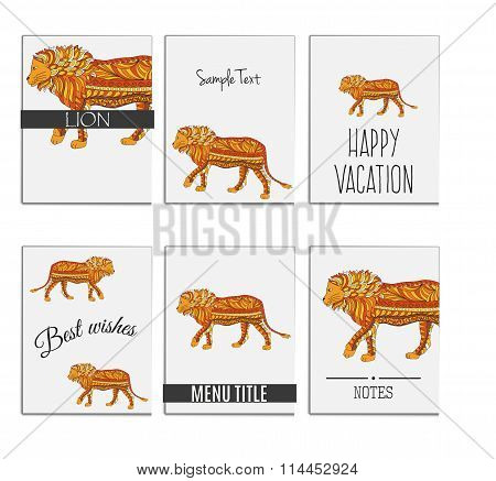 Hand drawn set zentangle colored lion for cards background templates. Concept for wildlife, tribal.