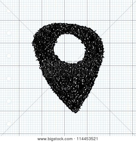 Simple Doodle Of A Location Marker