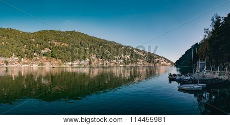 A beautiful panoramic landscape of Naini Lake.