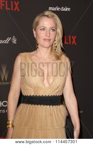 BEVERLY HILLS, CA - JAN. 10: Gillian Anderson arrives at the Weinstein Company and Netflix 2016 Golden Globes After Party on Sunday, January 10, 2016 at the Beverly Hilton Hotel in Beverly Hills, CA.