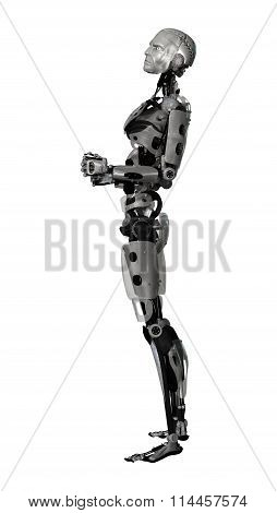Male Cyborg On White