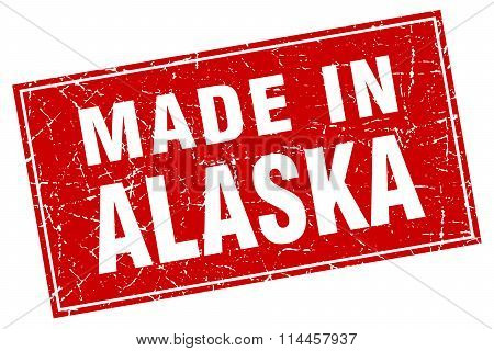 Alaska Red Square Grunge Made In Stamp