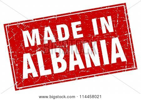 Albania Red Square Grunge Made In Stamp