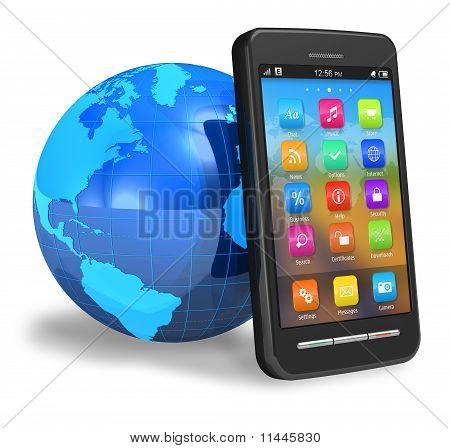 Touchscreen smartphone met Earth globe