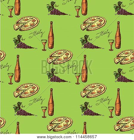 Seamless Pattern Food And Drink - The Symbol Of Italy