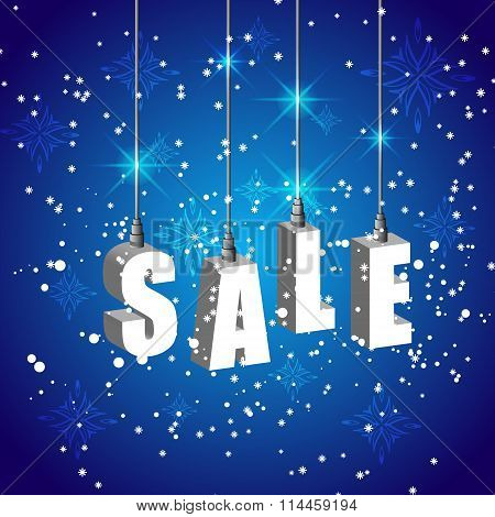 Winter sale blue banner with white hanging letters.