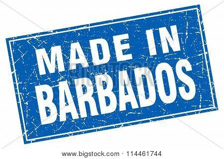 Barbados Blue Square Grunge Made In Stamp