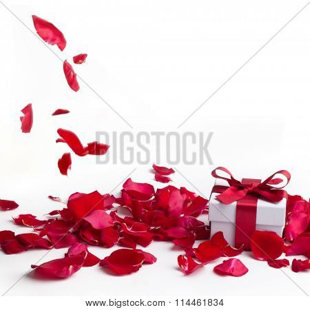Red roses and gift box on white background,Valentines day concept.