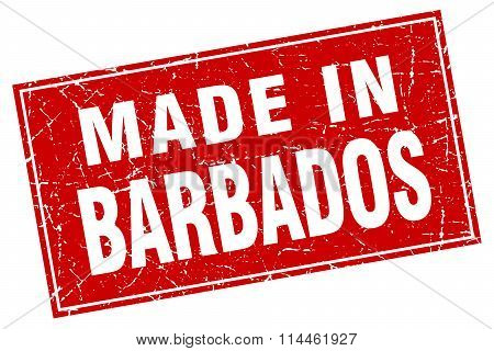 Barbados Red Square Grunge Made In Stamp
