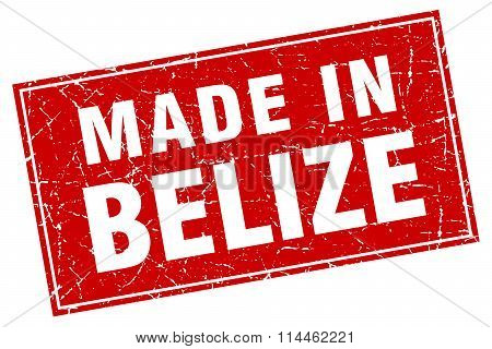Belize Red Square Grunge Made In Stamp