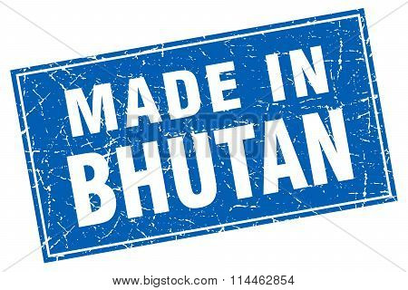 Bhutan Blue Square Grunge Made In Stamp