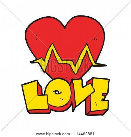 freehand drawn cartoon heart rate pulse love symbol