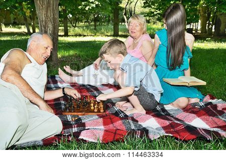 Grandparents And Grandchildren Are Resting In The Park. Horizontal. Focus On The Chessboard