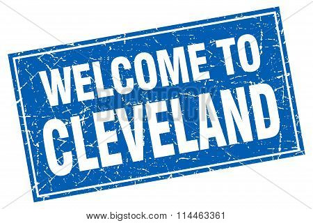 Cleveland Blue Square Grunge Welcome To Stamp