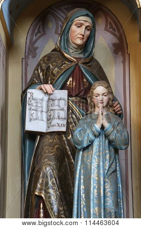 STITAR, CROATIA - AUGUST 27: St Ann with Virgin Mary, altarpiece on altar of Our Lady in the church of Saint Matthew in Stitar, Croatia on August 27, 2015