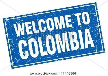 Colombia Blue Square Grunge Welcome To Stamp