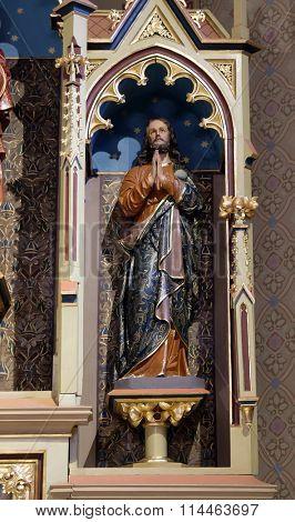 STITAR, CROATIA - NOVEMBR 24: Saint James statue on the main altar in the church of Saint Matthew in Stitar, Croatia on November 24, 2015
