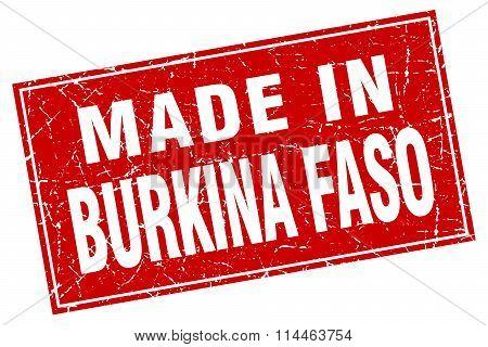 Burkina Faso Red Square Grunge Made In Stamp