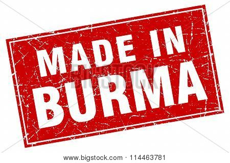 Burma Red Square Grunge Made In Stamp
