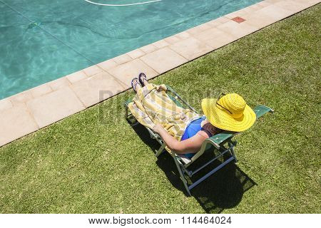 Woman Sitting Pool