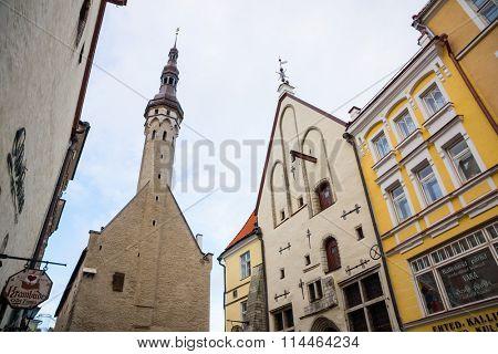 TALLINN, ESTONIA - DECEMBER 25: Town city hall at day time on December 25, 2015 in Tallinn, Estonia
