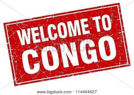 Congo Red Square Grunge Welcome To Stamp