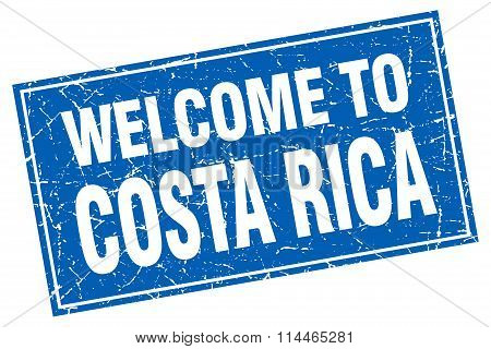 Costa Rica Blue Square Grunge Welcome To Stamp