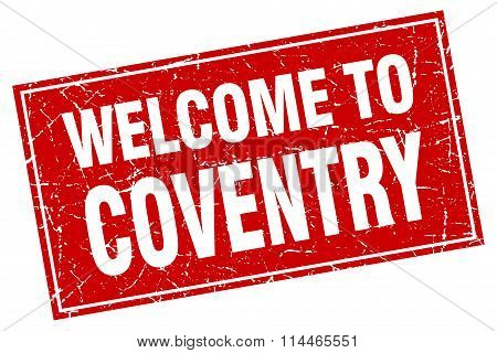 Coventry Red Square Grunge Welcome To Stamp