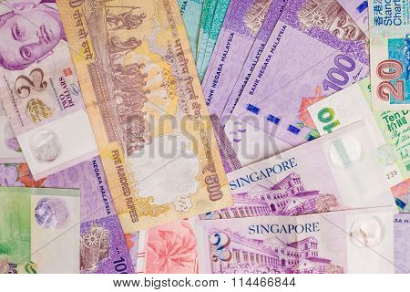Background Of Asian Currency.