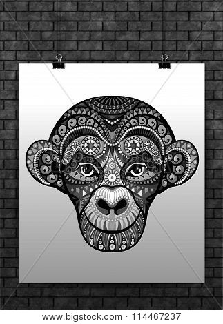 Vector Monkey head avatar, Chinese zodiac sign, black totem tatoo design for t-shirt, poster, bag, p