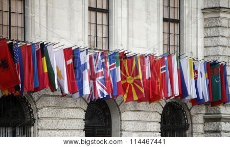 VIENNA, AUSTRIA - DECEMBER 09: International flags at the Hofburg in Vienna, Austria on December 09, 2011.