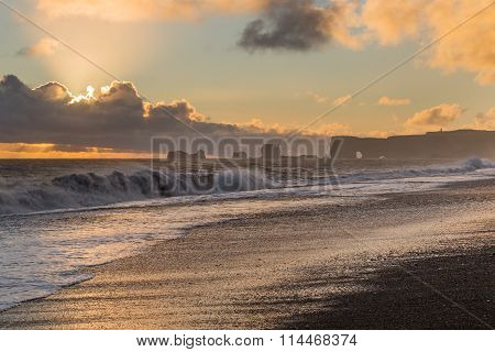 Romantic Sunset On Black Beach, Vik, Dyrholaey, Iceland