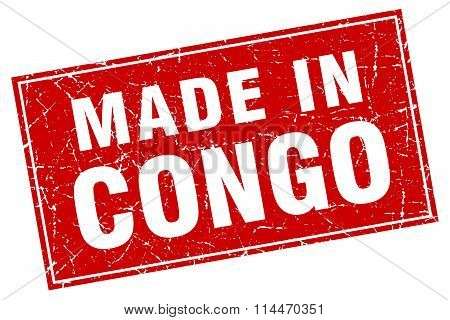 Congo Red Square Grunge Made In Stamp