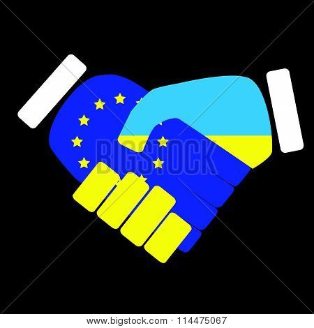 Symbol sign handshake European Union and Ukraine