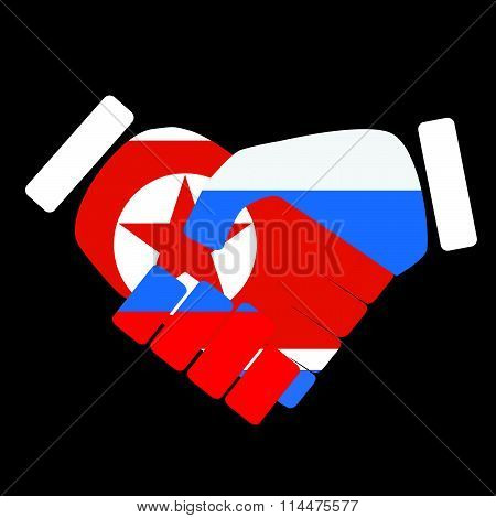 Symbol sign handshake North Korea and Russia