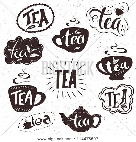 Vector Hand Drawn Set Of Lettering Tea Badge, Labels, Signs. Monochrome Design With Stylish Elements