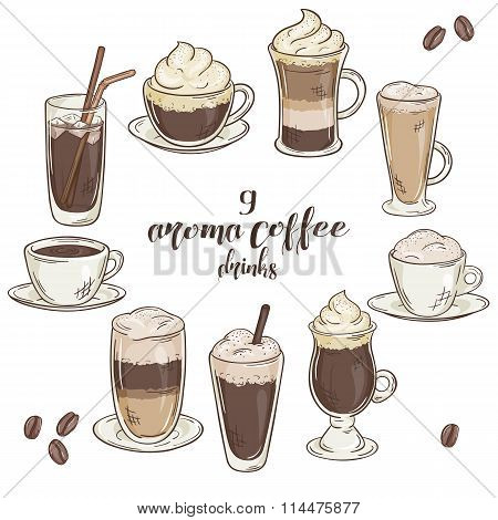Vector Printable Illustration With Set Of Isolated Cup Of Coffee Drinks. Contains Coffee, Latte, Moc