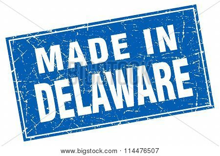 Delaware Blue Square Grunge Made In Stamp