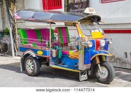 Tuk-tuk Taxi Vehicle Urban In Bangkok