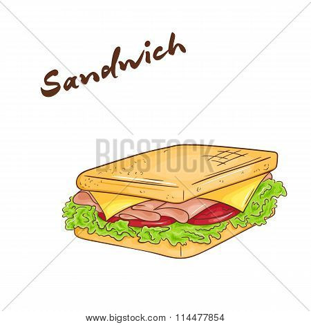 Vector Illustration Of An Isolated Cartoon Hand Drawn Fast Food. Sandwich.
