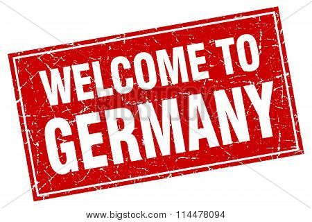 Germany Red Square Grunge Welcome To Stamp