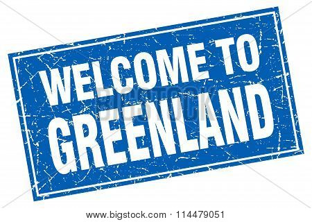 Greenland Blue Square Grunge Welcome To Stamp