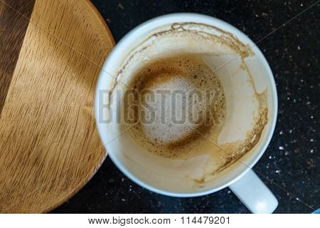 Mug Contain Only Coffee Stains When Breakfast Finished