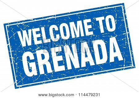 Grenada Blue Square Grunge Welcome To Stamp