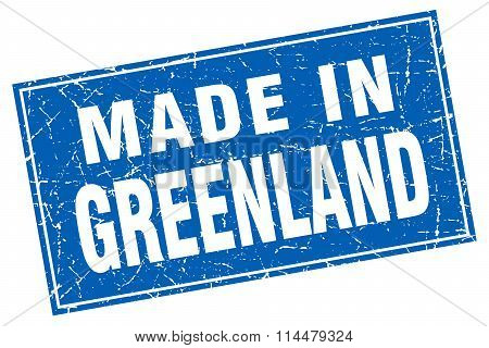 Greenland Blue Square Grunge Made In Stamp