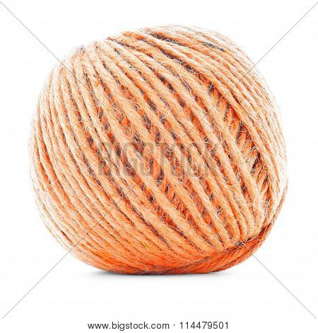 Orange Braided Clew, Knitting Thread Roll Isolated On White Background