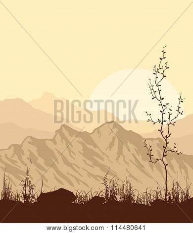 Landscape with mountains, grass and tree.