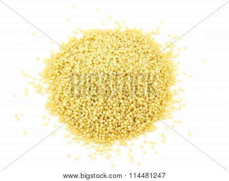 Pasta Cuscus Or Couscous Isolated On White Background