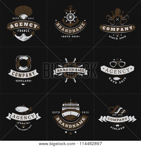 Set Of Hipster Vintage Labels, Logotypes, Badges For Your Business. Nautical Theme - Sea, Anchor, Oc