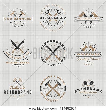 Set Of Hipster Vintage Labels, Logotypes, Badges For Your Business. Hammer, Wrench, Axe, Shovel, Kni